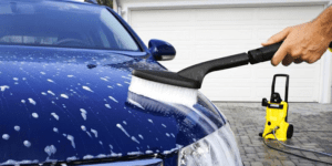 pressure washing car